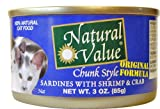 Natural Value Cat Food, Chunk Style Sardines with Shrimp and Crab, 3-Ounce Cans (Pack of 24), My Pet Supplies