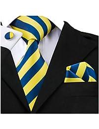 Mens Ties Classic Stripe Tie Set for Men Silk Woven Hanky Cufflinks
