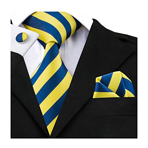 Barry.Wang Men Ties Fashion Suit Tie Set Yellow and Blue Necktie for (Yellow Stripe Tie)