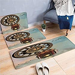 3 Piece Non-Slip Doormat 3d print for Door mat living room kitchen absorbent kitchen mat,Landscape Big Antique Clock Flying Birds Fairytale,15.7x23.6by23.6x23.6by27.5x55.1,coffee table carpet wi