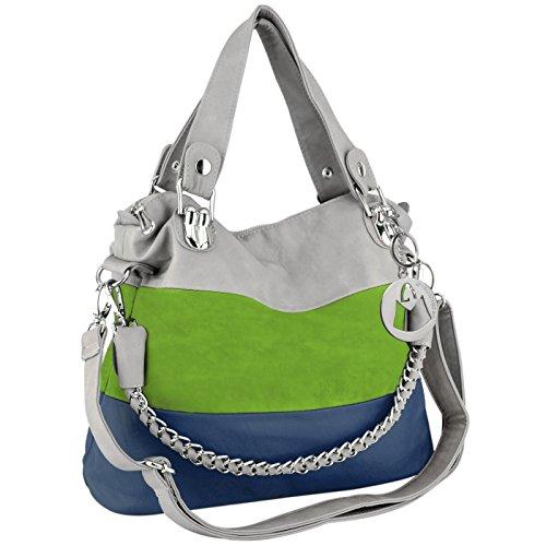 MG Collection MAWAR Green / Blue / Gray Chic Hobo Style Shoulder Handbag / Purse - Chic Handbag Charm