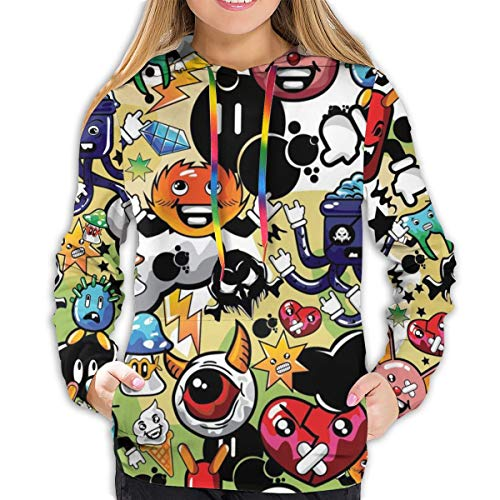 SALLYLOU Women's Hoodies Various Cartoon Characters Background Fantastic Girl Casual Hooded Athletic Pullover
