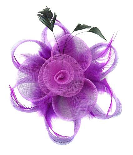 Fascinator Hair Clip Women Flower Feather Headband Pillbox Hat Tea Party (A Purple)
