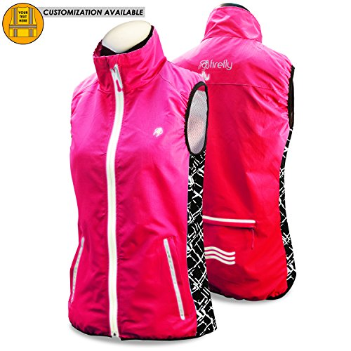 KwikSafety FIREFLY | Women All Year Racing Sport Vest | High Performance Recreational Sport Athletic Wear | 360° High Visibility Running Cycling Jogging Walking Skiing Sleeveless Jacket | Pink (All Weather Vest)