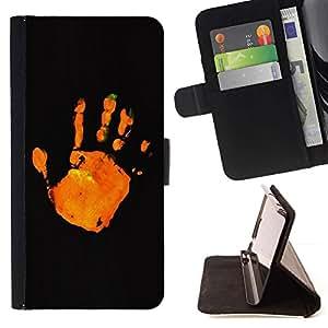 Momo Phone Case / Flip Funda de Cuero Case Cover - Deje de Naranja Negro minimalista - Samsung Galaxy Note 5 5th N9200