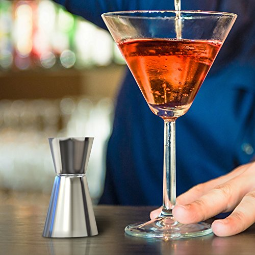 Vremi Stainless Steel Cocktail Shaker Set - 5 Piece Bartender Kit with Martini Shaker Strainer Jigger Shot Glass Stirring Spoon - Bartending Supplies Bar Tools Barware and Bartender Gifts Set - Silver by Vremi (Image #3)