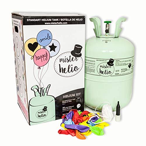 Bombona de Helio Desechable Mister Helio + 30 Globos de Latex La Botella de Helio mas molona
