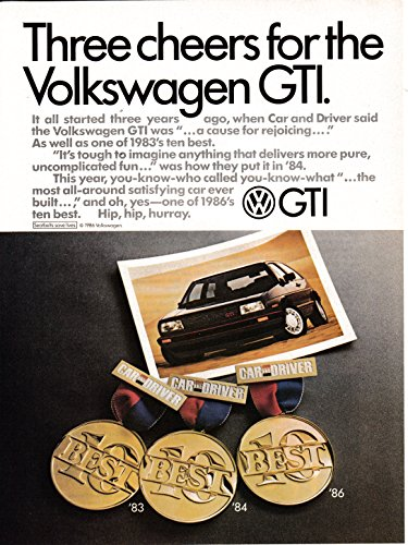 1986 VW GTI -3 Cheers From Car + Driver Top 10-Volkswagen-Original Magazine Ad