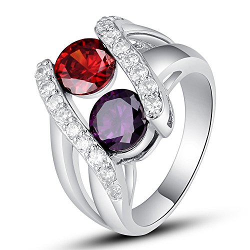 Psiroy Created Amethyst & Created Ruby Split Shank Swirl Promise Ring for Women (Amethyst Swirl Ring)
