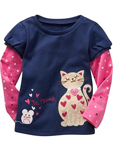 Metee Dresses Girls Kids Blue Long Sleeve Cotton T-Shirts Cartoon Tops