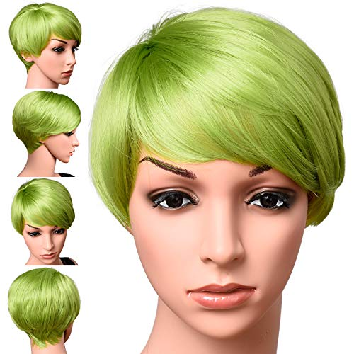 Short Lime Green Color Pixie Cut Hair Wig 100% Kanekalon Fiber Cosplay Daily Party Lime Synthetic Wig for Women 6 inches -