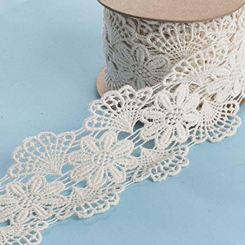 Ribbon Doilies (Factory Direct Craft 5 Yards of Ivory Floral-Patterned Vintage Inspired Doily Lace Ribbon for Embellishing Crafts, Decorating and Arranging)