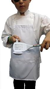 Chefskin M White Kid Children Chef Set (Apron+hat) Lite Fabric Fits 8-12