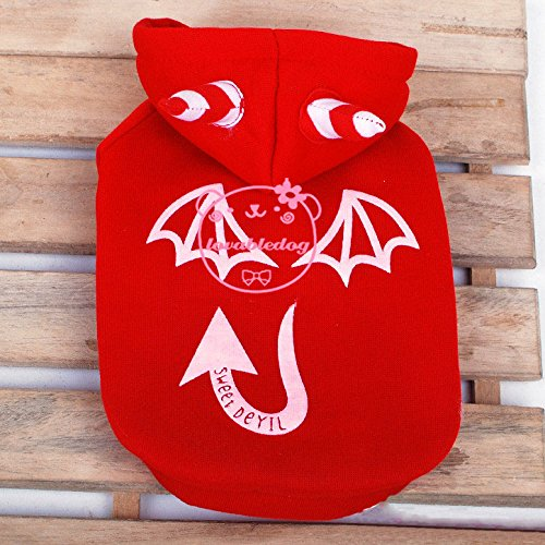 SMALLLEE_LUCKY_STORE?Pet Cat Dog Sweet Devil Hooded Coat Jacket Small Dog Clothes Costumes Red XS