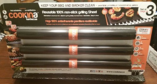 Set of 3 Jumbo size Cookina non stick Grilling Sheets reusable 15.75 by 19.68 ()