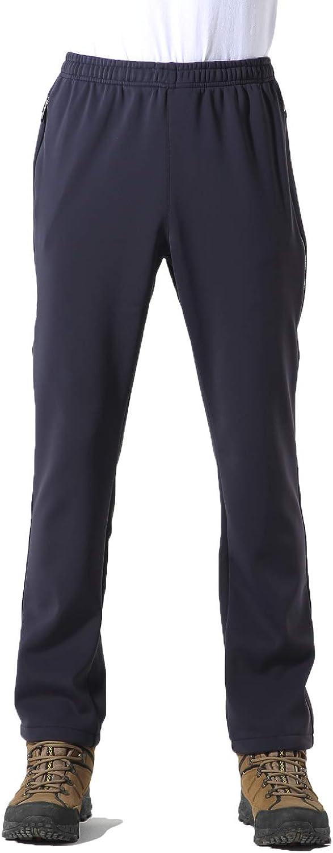 UPON HIKING Men Outdoor Pants Soft Shell Elastic Nylon Waterproof Velvet Inside