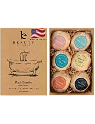 Bath Bomb Gift Set, Made In USA with Organic and Natural Vegan Ingredients, Spa Fizzies, Lush Fragrant Essential Oils, Surprise Gift for Men, Women and Kids; Best Relaxing Epsom Salt Soak (6 Pack Kit)