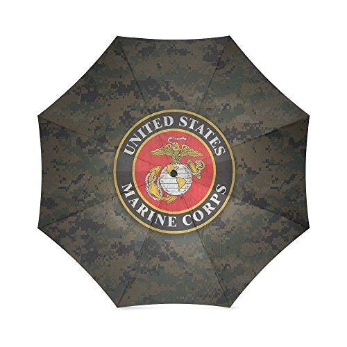 (USMC United States Marine Corps Compact Foldable Rainproof Windproof Travel Umbrella)
