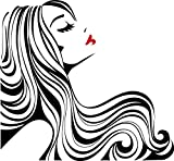 Chic Walls Removable Woman Silhouette Profile Red Lips Long Hair Wall Window Art Decor Decal Vinyl Sticker 60'' X 56'' Black