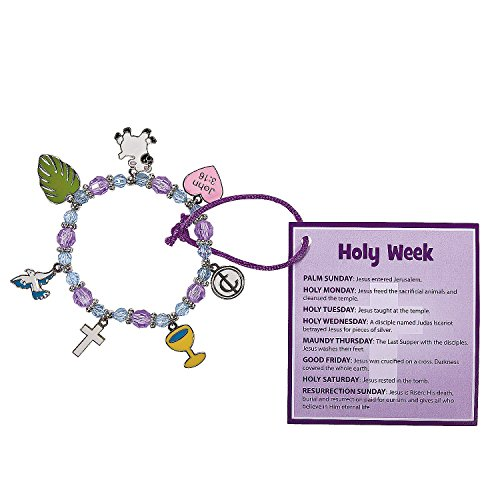 Fun Express - Holy Week Bracelet with Card ck for Easter - Craft Kits - Kids Jewelry Craft Kits - Kids Bracelet - Easter - 12 Pieces