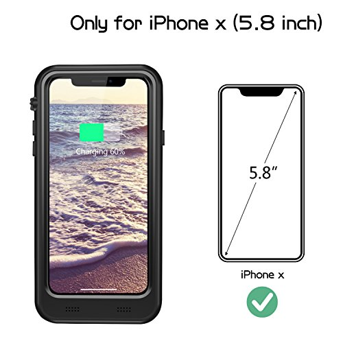 iPhone X Waterproof Battery Case Qi Wireless Charging Compatible,Vapesoon 5.8-inch 3400mAh Slim Rechargeable Extended Protective Portable Charger Case for iPhone X – Black by Vapesoon (Image #1)