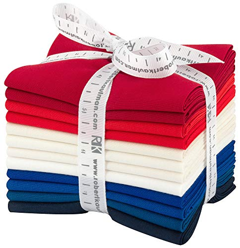 Robert Kaufman Kona Cotton Solids Patriotic Fat Quarter Bundle 12 Precut Cotton Fabric Quilting FQs Assortment FQ-1378-12 ()