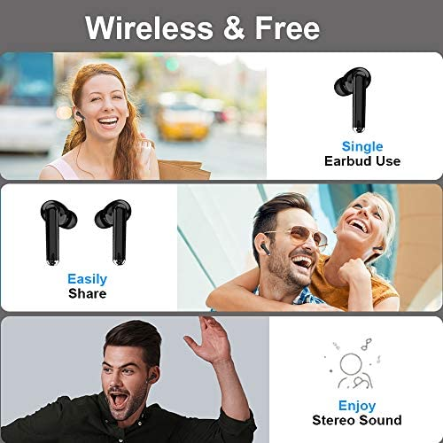 Bluetooth 5.0 Wireless Earbuds Headphones with USB-C Quick Charge, Touch Control Bluetooth Earbuds Deep Bass IPX7 Waterproof Wireless Headphones 30 Hrs, Built-in Dual Mics for iOS and Android