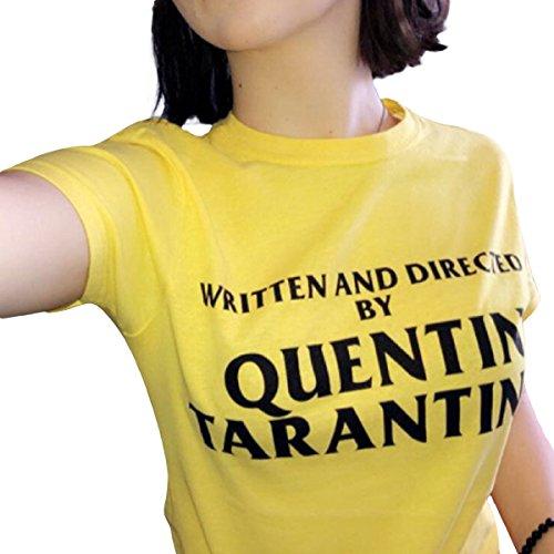 Tops Quentin Diretto Per Corto Zffde Te Summer E collo Scritto O Da Yellow Maglietta Tarantino Donna shirt Stampa T qpFZg