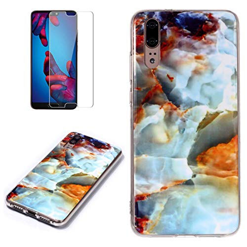 for Huawei P20 Marble Case with Screen Protector,Unique Pattern Design Skin Ultra Thin Slim Fit Soft Gel Silicone Case,QFFUN Shockproof Anti-Scratch Protective Back Cover - Fire Cloud by QFFUN (Image #4)