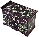 Mother of Pearl Butterfly Design Jewelry Box Display with 4 Drawers Nacre Jewellry Case 4 Colors (Purple)
