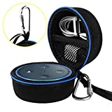Travel Portable Carrying Protective Hard Case Box Pouch for Amazon All-New Echo Dot(2nd Generation) with Carabiner(Fits USB Cable and Wall Charger) (Black(Blue Zipper))