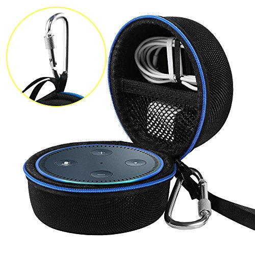 Travel Portable Carrying Protective Hard Case Box Pouch for Amazon All-New Echo Dot(2nd Generation) with Carabiner(Fits USB Cable and Wall Charger) (Black(Blue Zipper)) (Protective Hard Carrying Case)