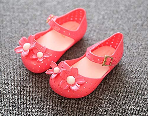 (donfohyx Sandals Kids Girls Sandals Mini SED Jelly Shoes Satin Cherry PVC Soft outsol, Flower red, 11)