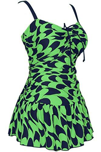 HENGJIA - Traje de una pieza - Floral - Sin mangas - para mujer Smaragdgrün