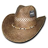 DECKY Inc Shelly Raffia Straw Summer Cowboy Hats 520