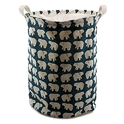 "Riverbyland Bear Pattern Folding Laundry Hamper - Size: 14"" W x 18"" H. Lovely polar bear pattern, full of personality, family definitely love it. Material: Cotton and Linen mixed. Mildew free. Durable and lightweight. - laundry-room, hampers-baskets, entryway-laundry-room - 51vks9TZeCL. SS400  -"