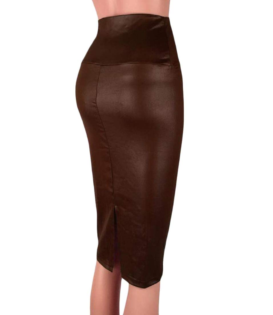 Abetteric Womens All-Match High Waisted OL Midi Solid Club Simple Bodycon Skirt 2 XL