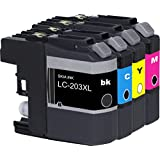 SKIA Compatible 4 Pack LC203XL LC-203 Ink Cartridges For Ink Cartridge Printer Brother MFC-J480DW, j4620dw, j5720dw, j4420dw, j5620dw, j485dw, j880dw, j680dw, j885dw, j460dw, j5520dw