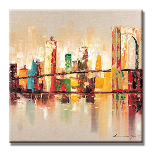JAPO ART - Landscape Abstract City Color Skyline York Brooklyn Bridge 100% Hand Painted Oil Painting Stretched Frame Wall Art 24 x 24 Inch