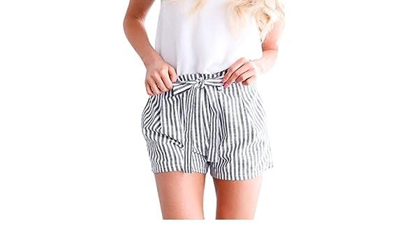 9e6492ed2b Amazon.com: Women's Casual Stripe Shorts Summer Loose Hot Pants High Waist  Beach Shorts with Belt (Gray, S): Sports & Outdoors