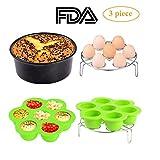 3pcs Instant Pot Accessories Set Kit Silicone Egg Bites Mold+Egg Steamer Rack+7inch Cake Pan Mold Insert Pans for 5 6 8 Quart Pressure Cooker Accessory