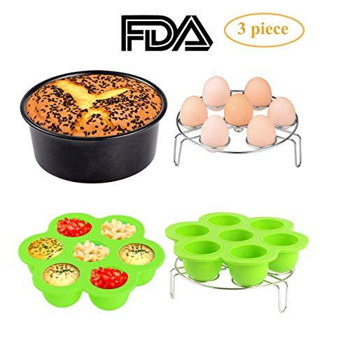 - 3pcs Instant Pot Accessories Set Kit Silicone Egg Bites Mold+Egg Steamer Rack+7inch Cake Pan Mold Insert Pans for 5 6 8 Quart Pressure Cooker Accessory