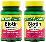 Spring Valley Biotin 1000 Mcg 300 Softgels  for Healthy Skin, Hair and Nails (2 Bottles of 150 Softgels each)