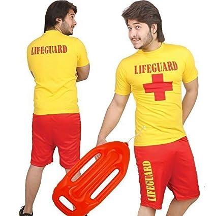 LIFEGUARD CROSS YELLOW T SHIRT TOP BEACH FANCY DRESS CUSTOM COLOUR TSHIRT