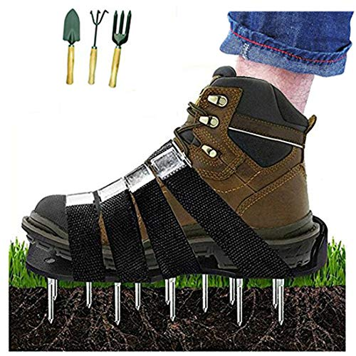 Upgraded Lawn Aerator Shoes Heavy Duty Spiked Aerating Lawn Sandals With 4 Heal Adjustable Metal Buckles Straps&1x Heal Elastic Design for Aerating Garden Yard(Gift:3 Pieces Garden Mini Tools Set) by HOTINS (Image #7)
