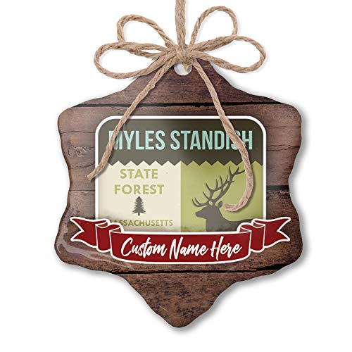 NEONBLOND Custom Family Ornament National US Forest Myles Standish State Forest Personalized Name