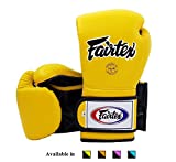 Fairtex Muay Thai Boxing Gloves BGV9 - Heavy Hitter Mexican Style - Minor Change Black Marina Blue 12 14 16 oz Training & Sparring Gloves for Kick Boxing MMA K1 (Yellow/Black, 14 oz)