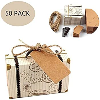 685925d942e1 50 Pack Vintage Kraft Favor Box Candy Gift Bag for Travel Theme Party  Wedding Birthday Bridal Shower