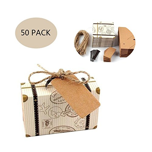 50 Pack Vintage Kraft Favor Box Candy Gift Bag for Travel Theme Party Wedding Birthday Bridal Shower -