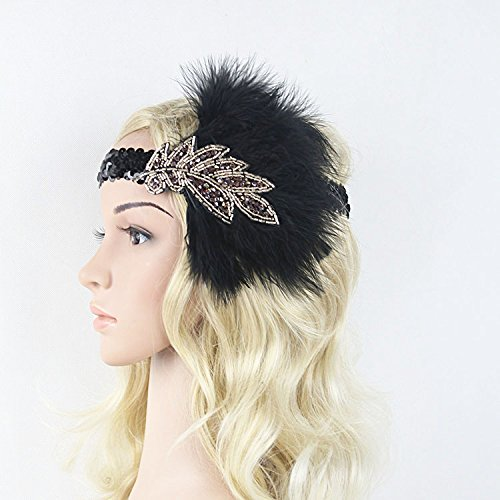 Costumes 1920s Easy (Meiliy Nature Vintage Black Sequined Headpiece Art Deco 1920s Gatsby Flapper Headband With)